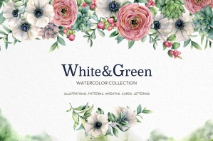 White & Green Watercolor Anemone Set