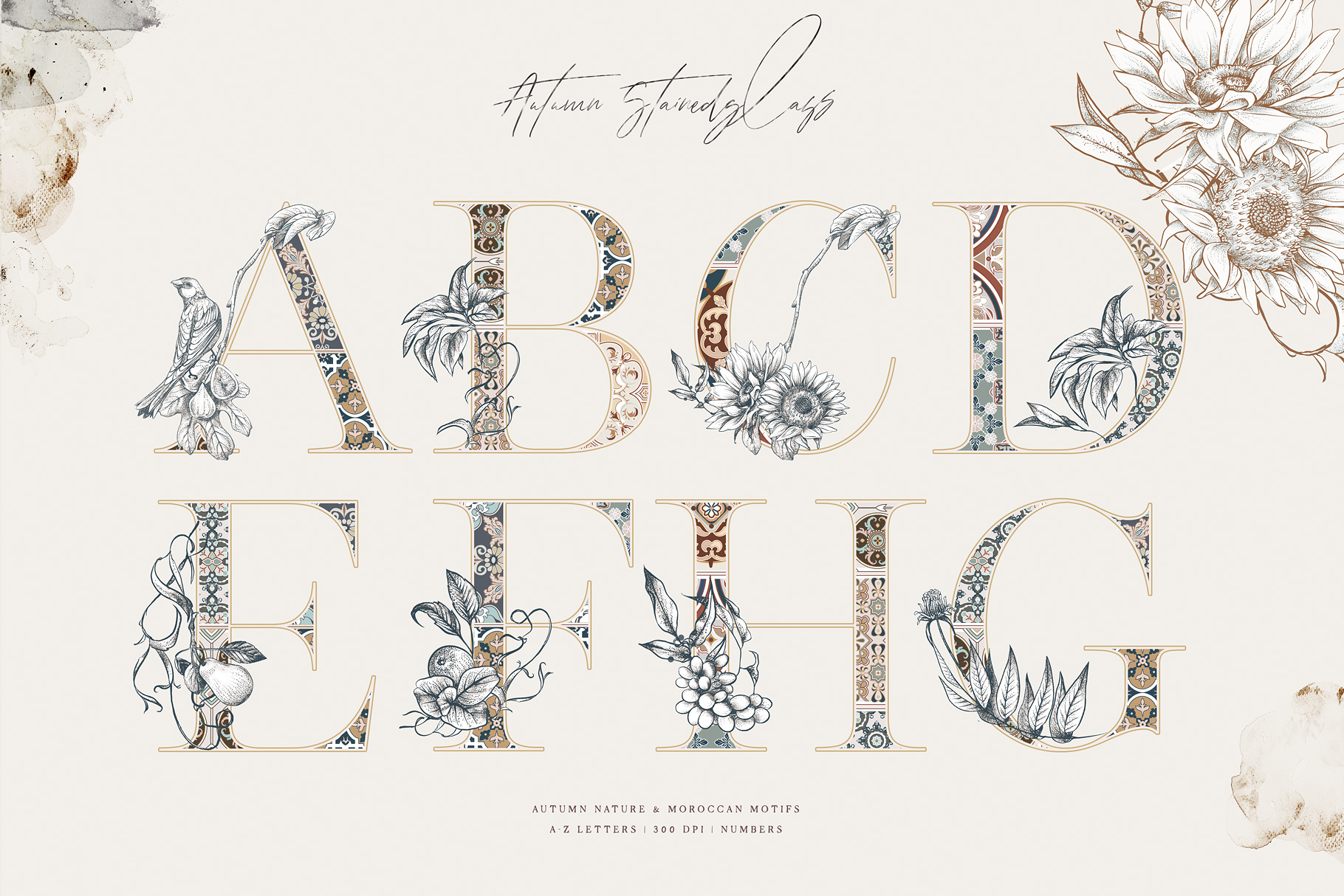Stained Glass Alphabet & Graphics