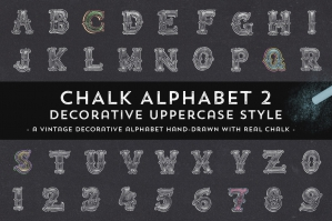 Hand-Drawn Chalk Decorative Alphabet