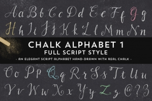 Hand-Drawn Chalk Script Alphabet
