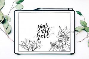 iPad Mockup with Eucalyptus and Apple Pencil