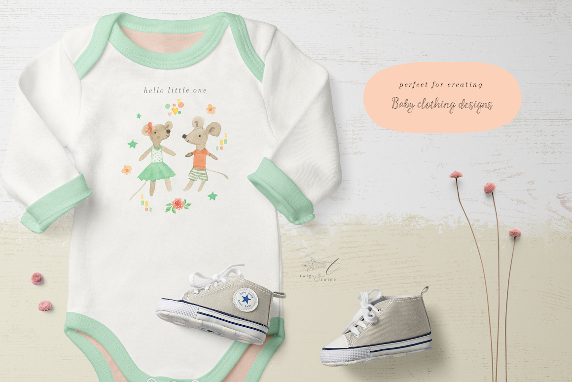 New Baby Watercolour Graphics Set