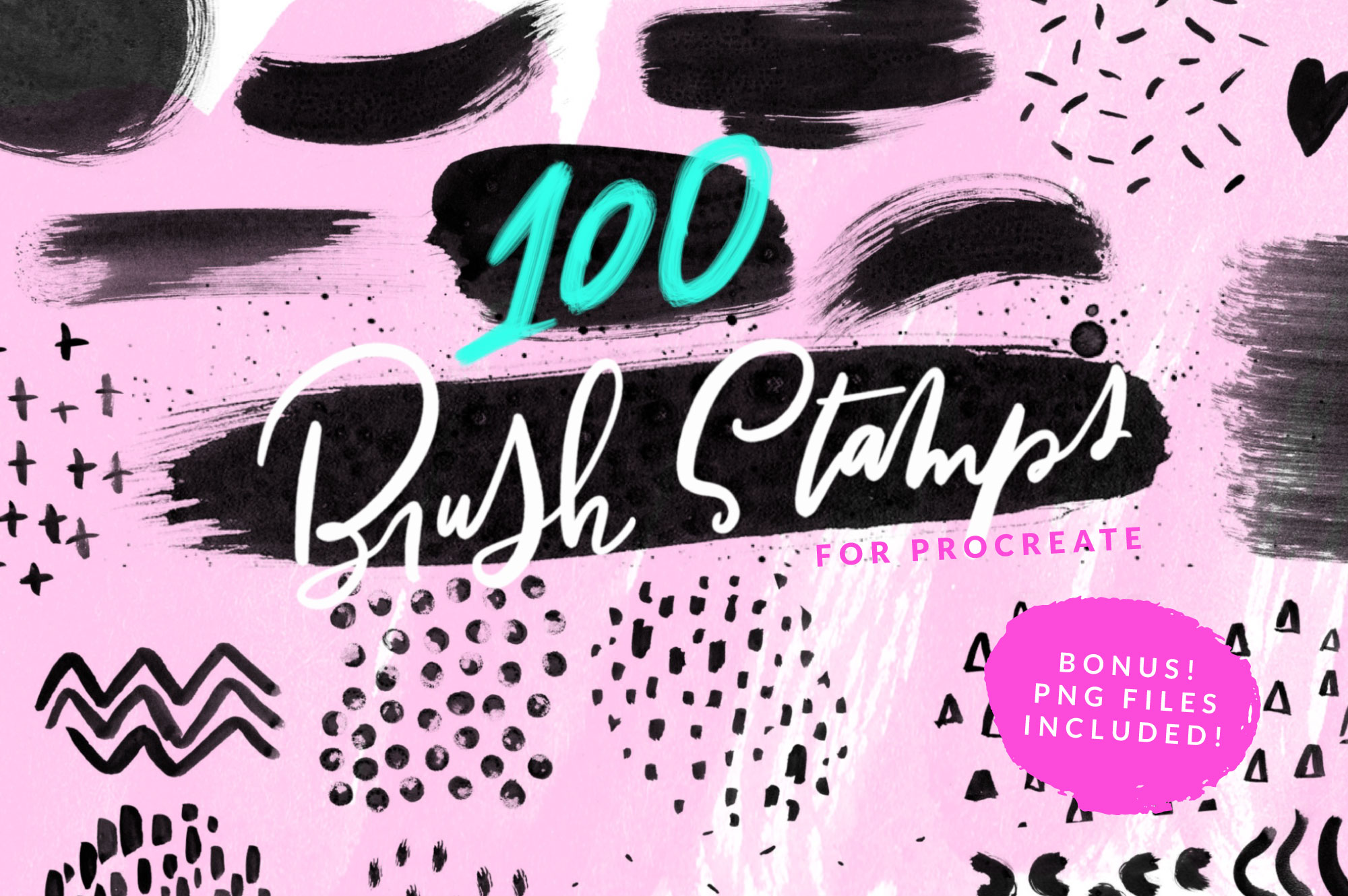 100 Paint Brush Stamps For Procreate