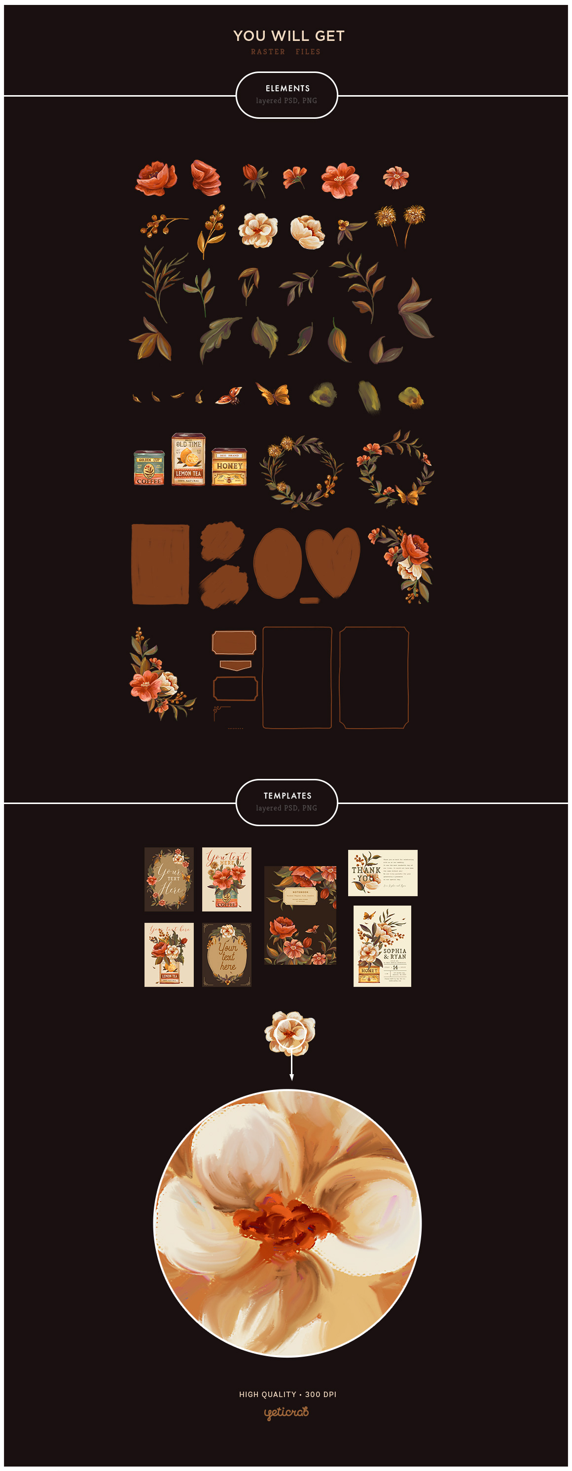 Vintage Tins & Flowers Graphic Set