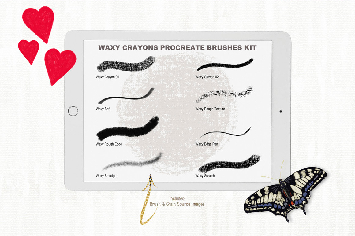 Waxy Crayons Procreate Brushes & Color Palette Kit