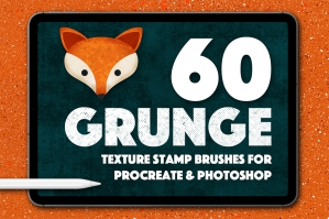 Grunge Texture Stamps for Photoshop and Procreate