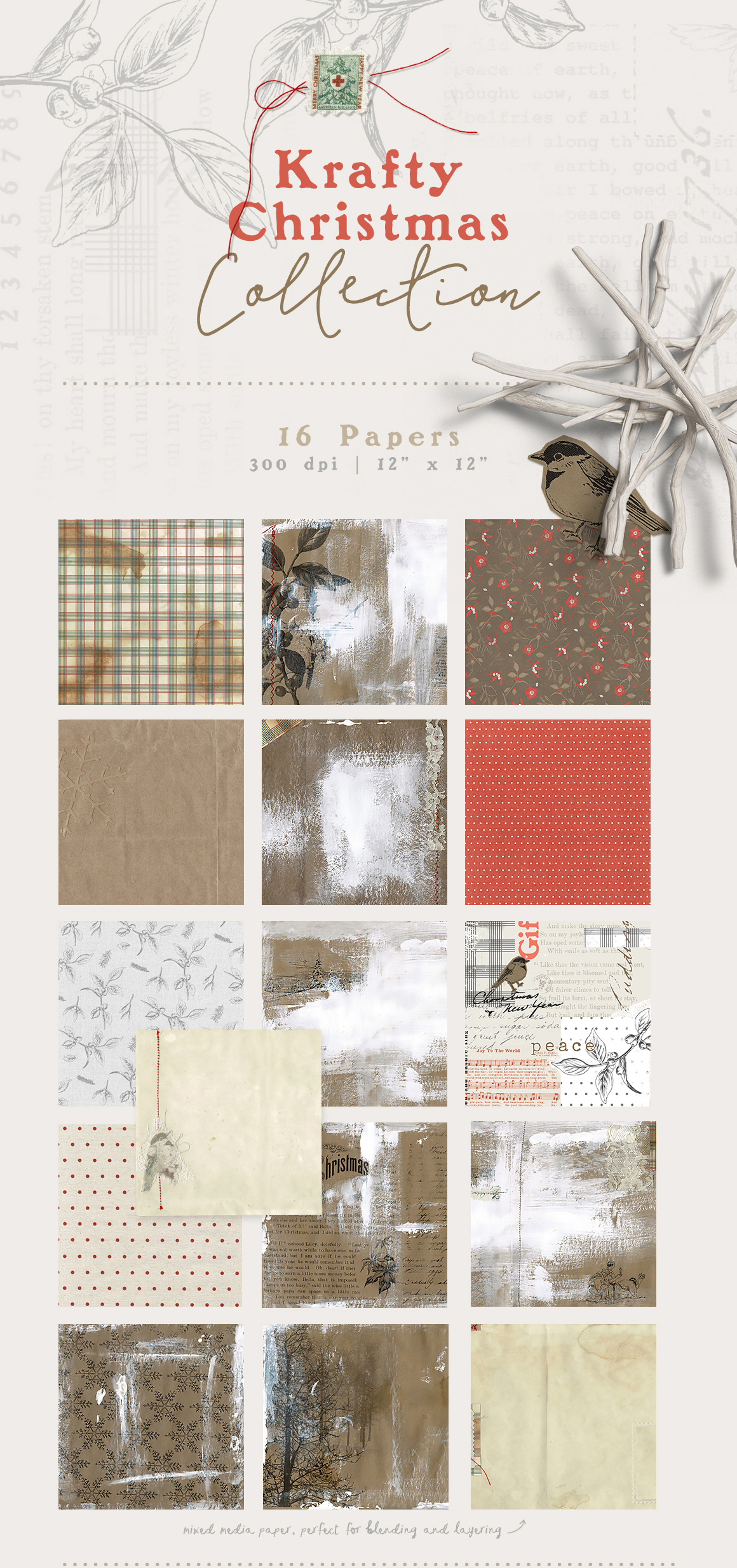 Christmas Papers and Element Pack