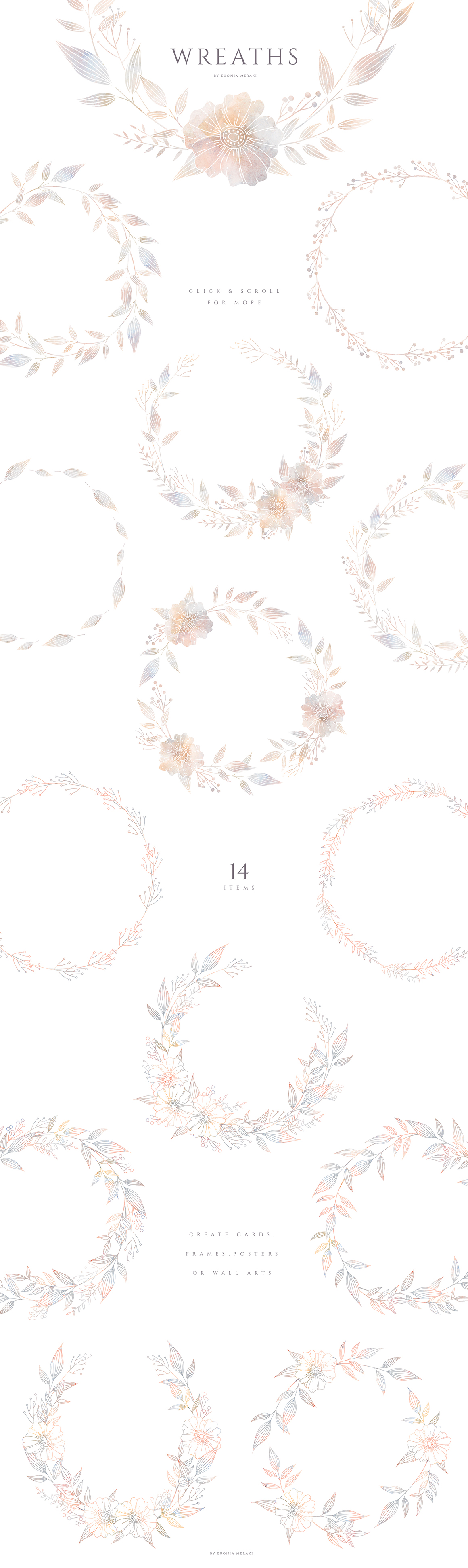 Misty - Dusty Floral Graphics and Monogram