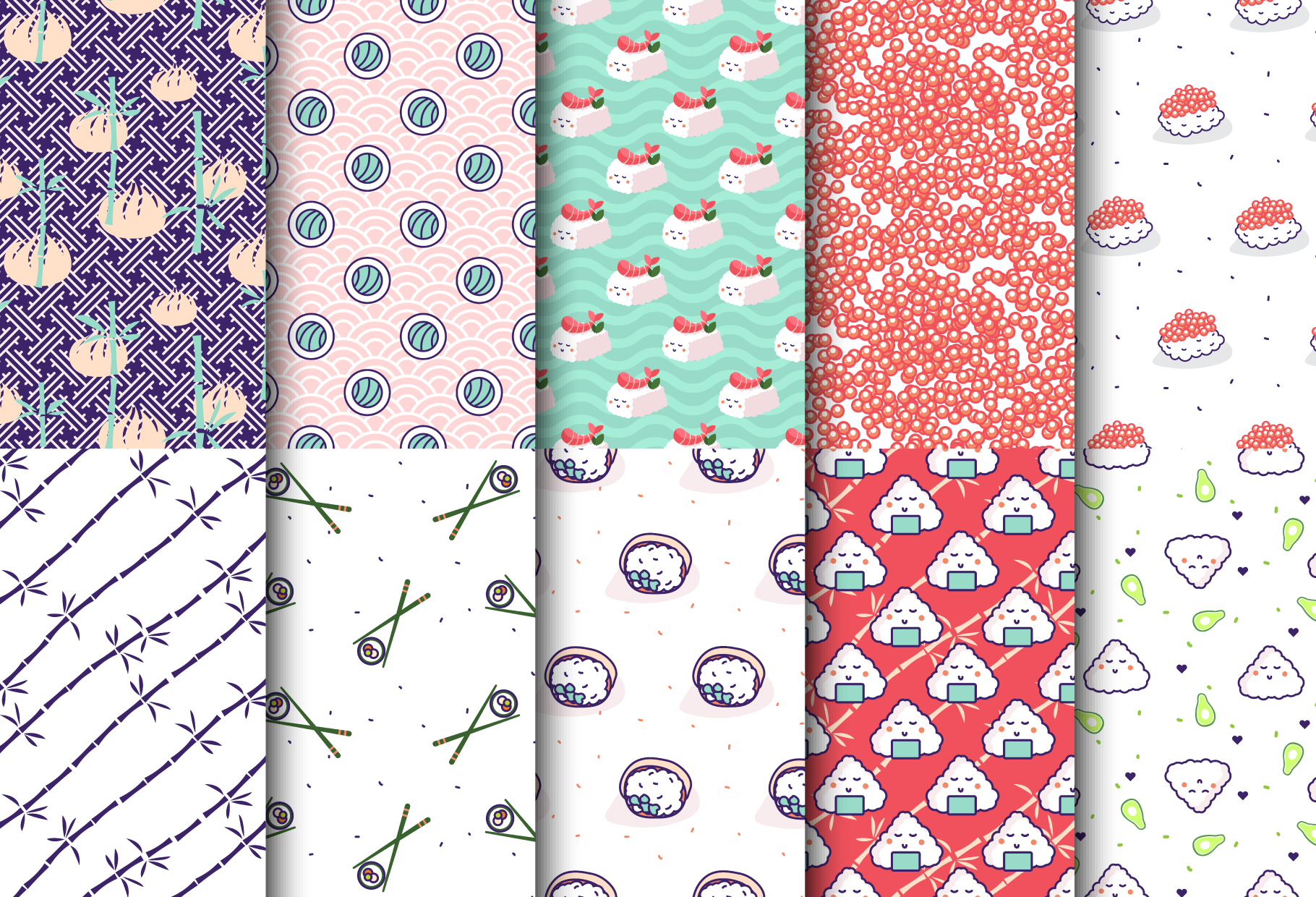 Sushi - Seamless Patterns