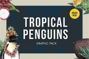 Tropical Penguin and Fruits Graphic Pack
