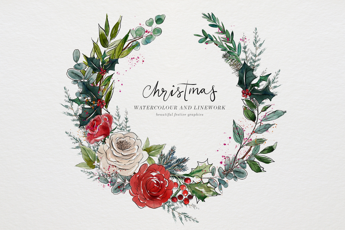 Christmas Watercolour and Inky Line