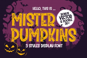 Mister Pumpkins - Halloween Font With Bonus Vector