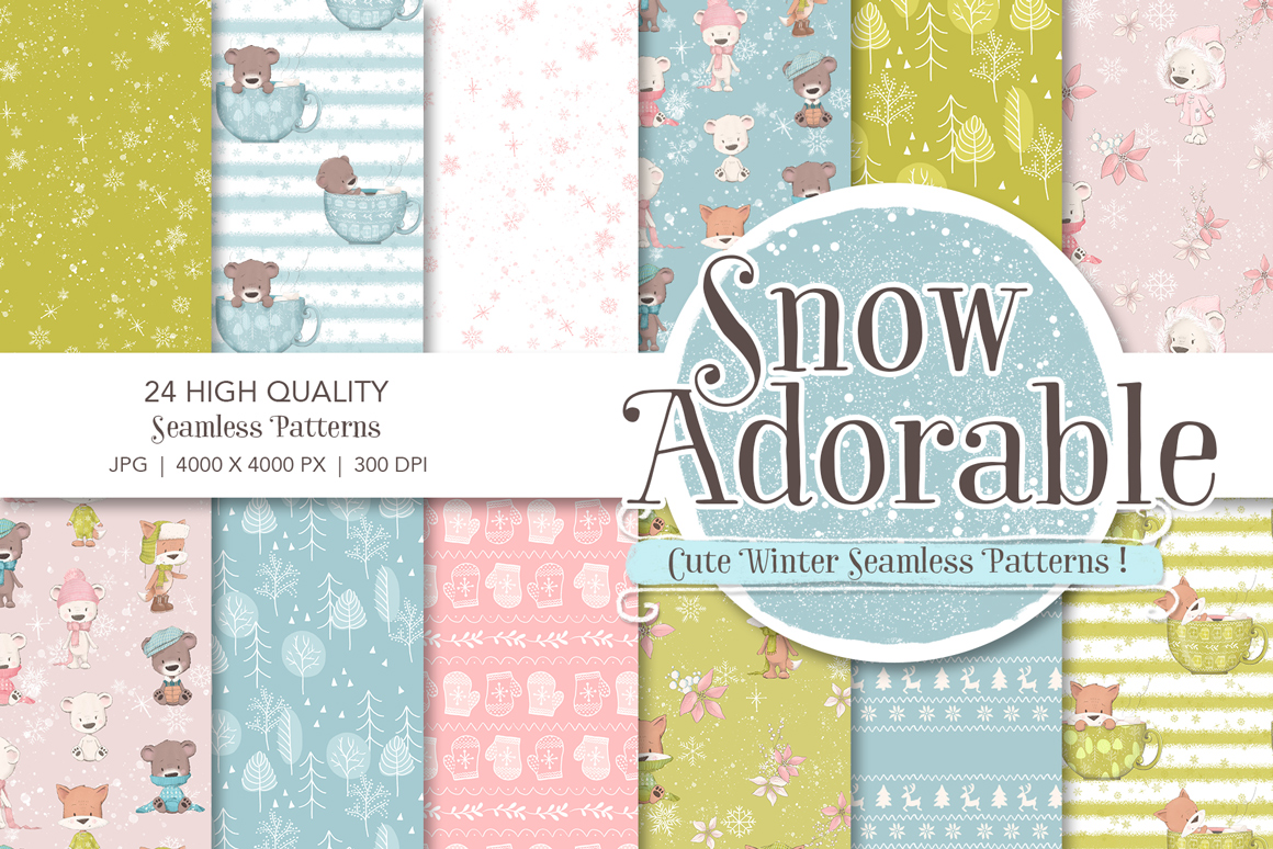 Snow Adorable Seamless Patterns
