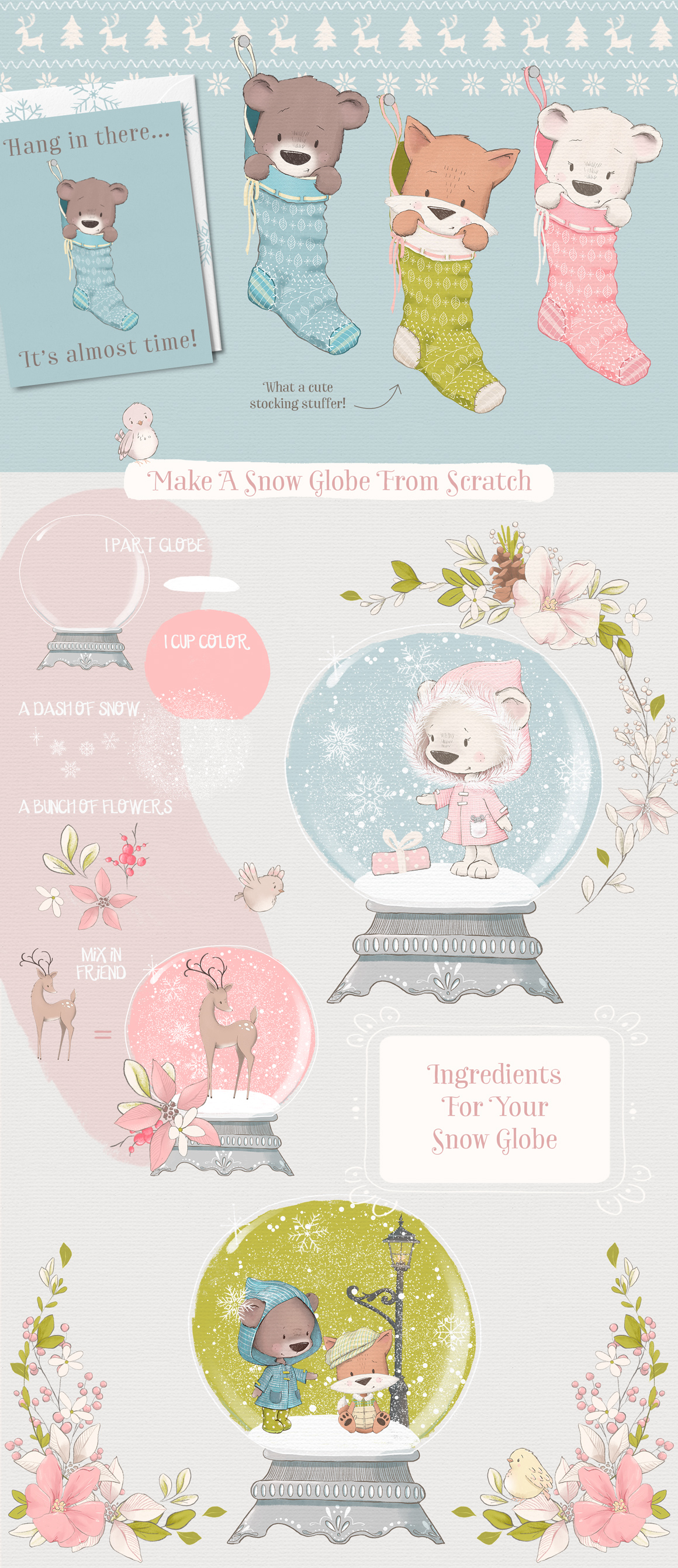 Snow Adorable Winter Illustration Clipart Kit