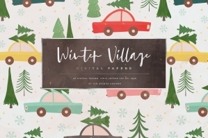 Winter Village Digital Papers