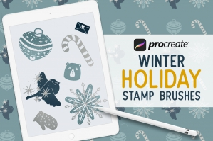 50 Procreate Winter Holiday Stamp Brushes