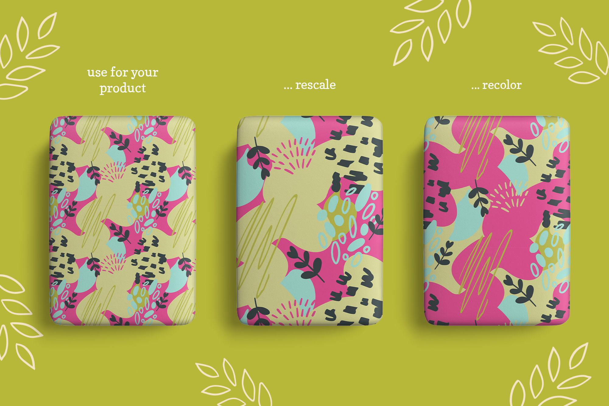 Abstract Flora Patterns and Clip Art Set