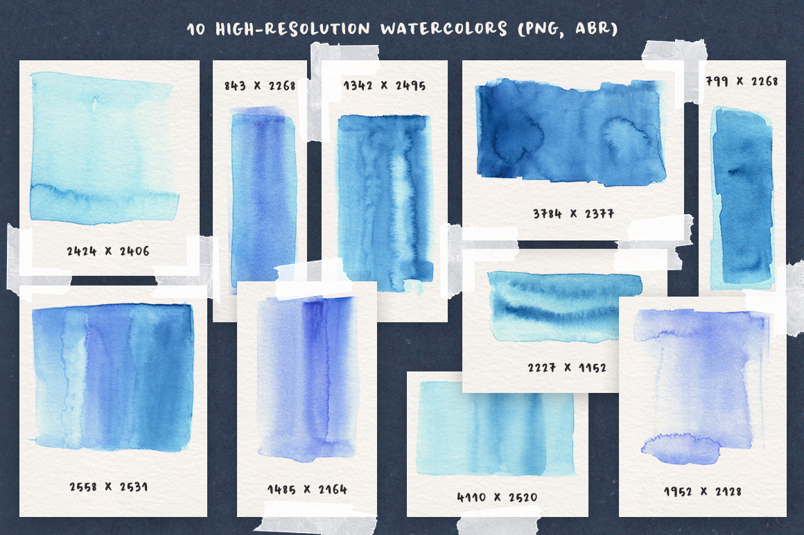 Blue Watercolor and Texture Pack