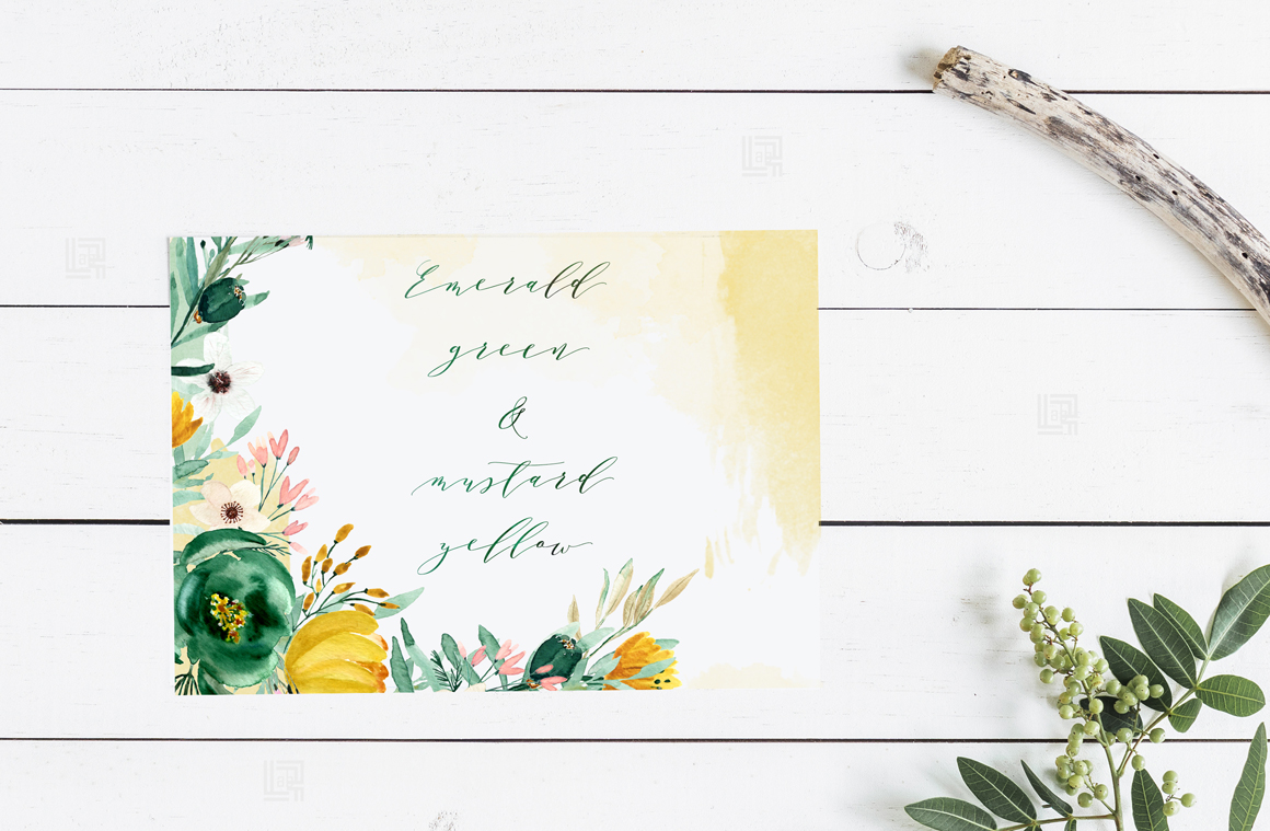 Emerald Green & Mustard Yellow Watercolor Flowers