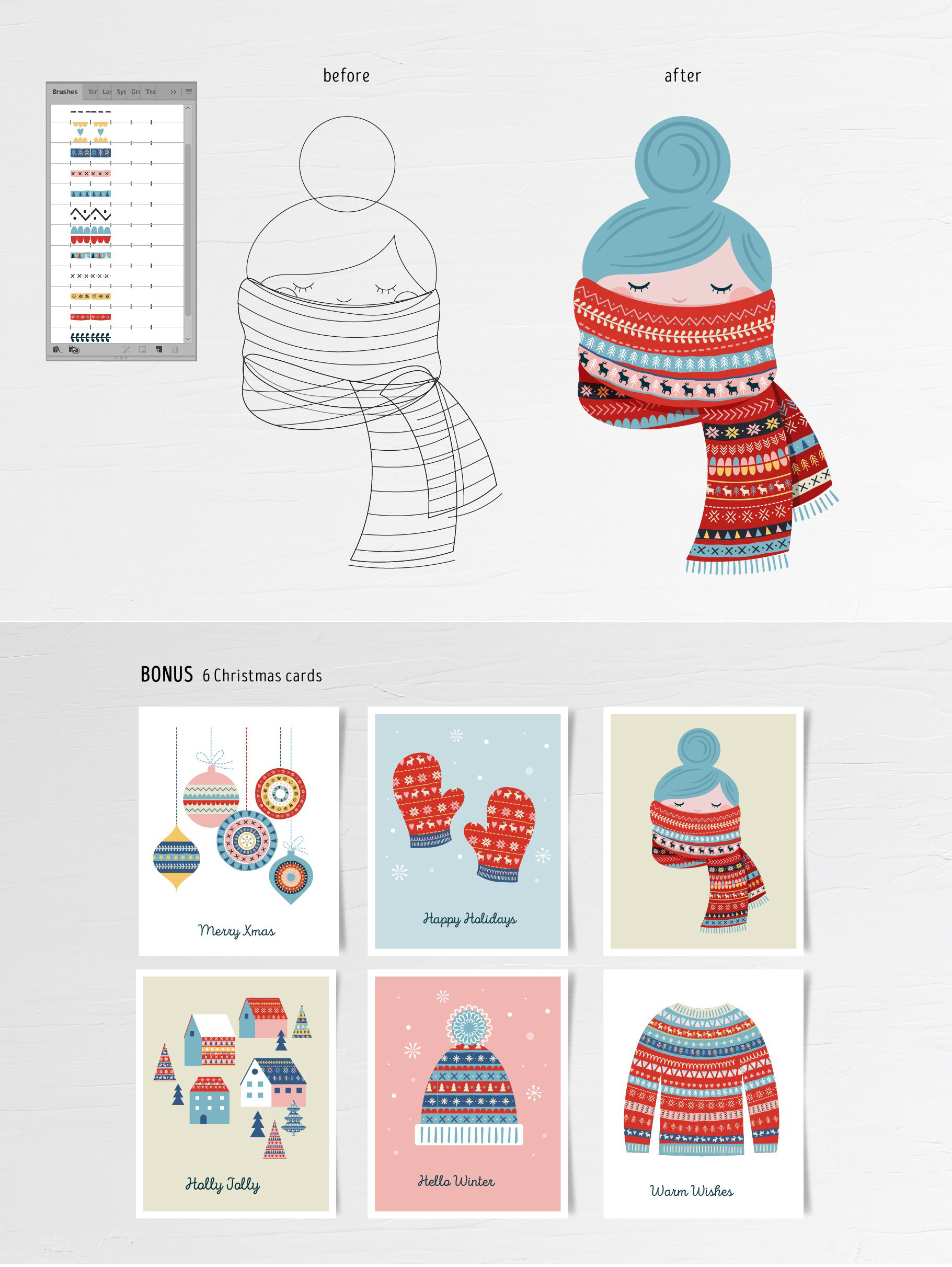 Handmade Xmas Brushes & Patterns Collection