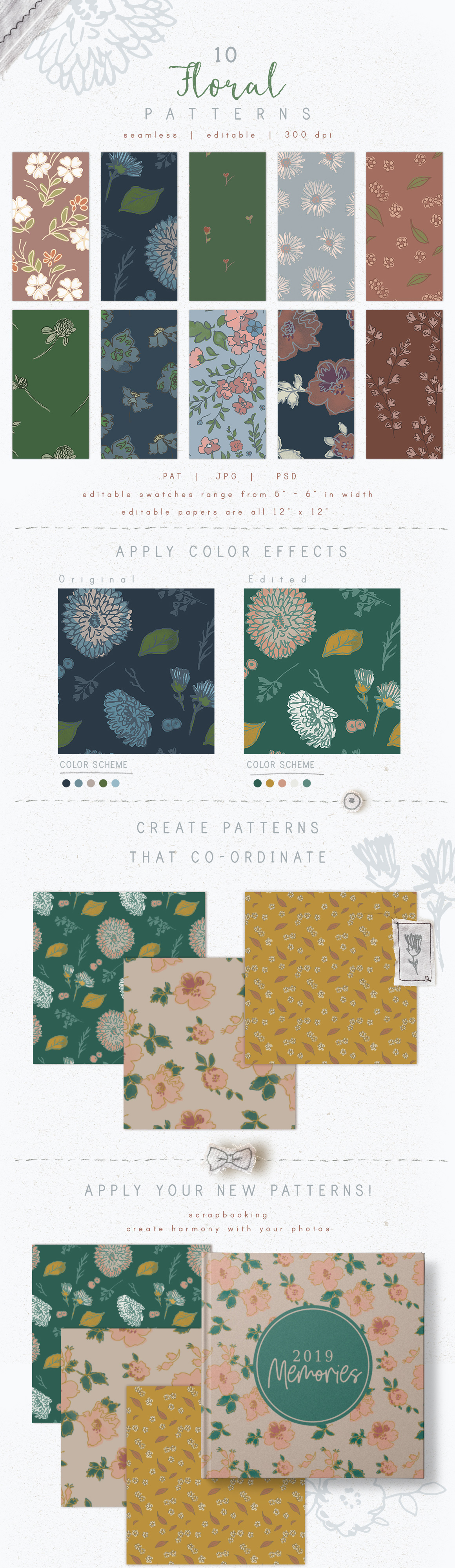 Seamless Editable Patterns - Floral