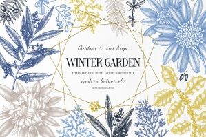 Winter Garden. Evergreen Plants Sets