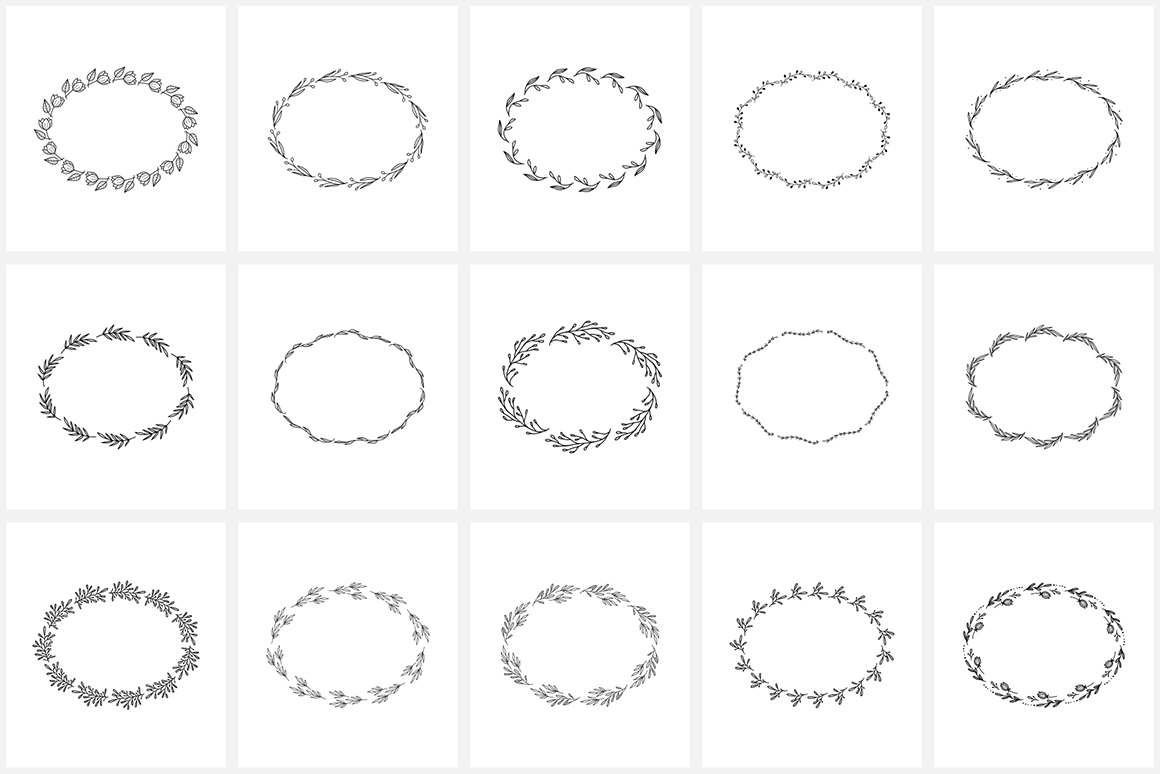 100 Hand Drawn Floral Wreaths and Frames 2