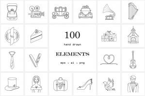 100 Hand Drawn Logo Elements- Wedding Line Icons