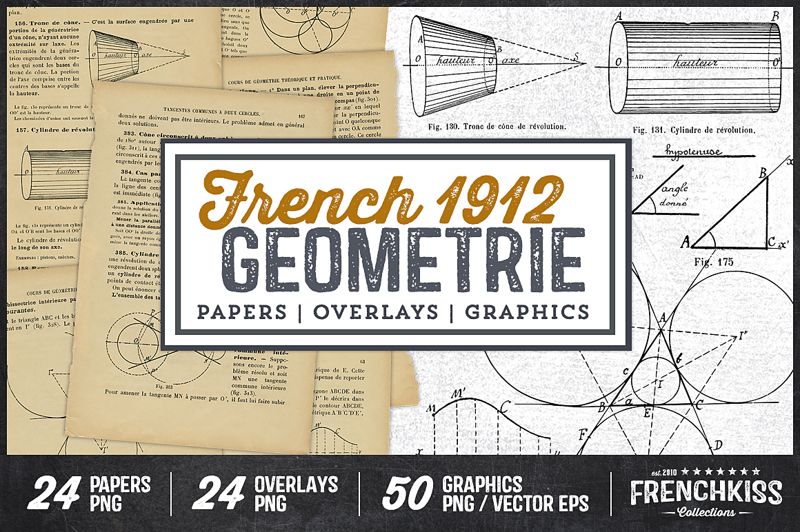 1912 French Geometrie Papers, Overlays & Graphics