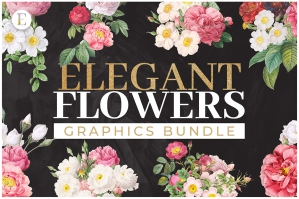 50 Elegant Flowers Bundle - Patterns & Bouquets