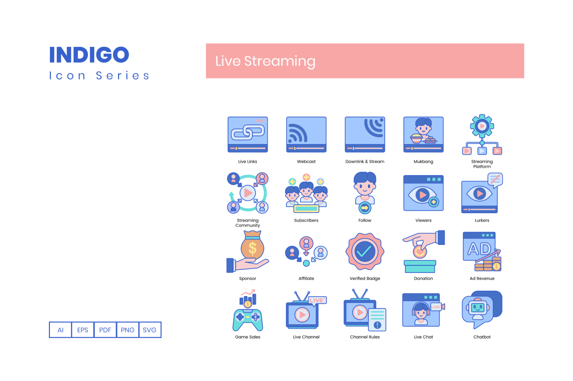 75 Live Streaming Icons