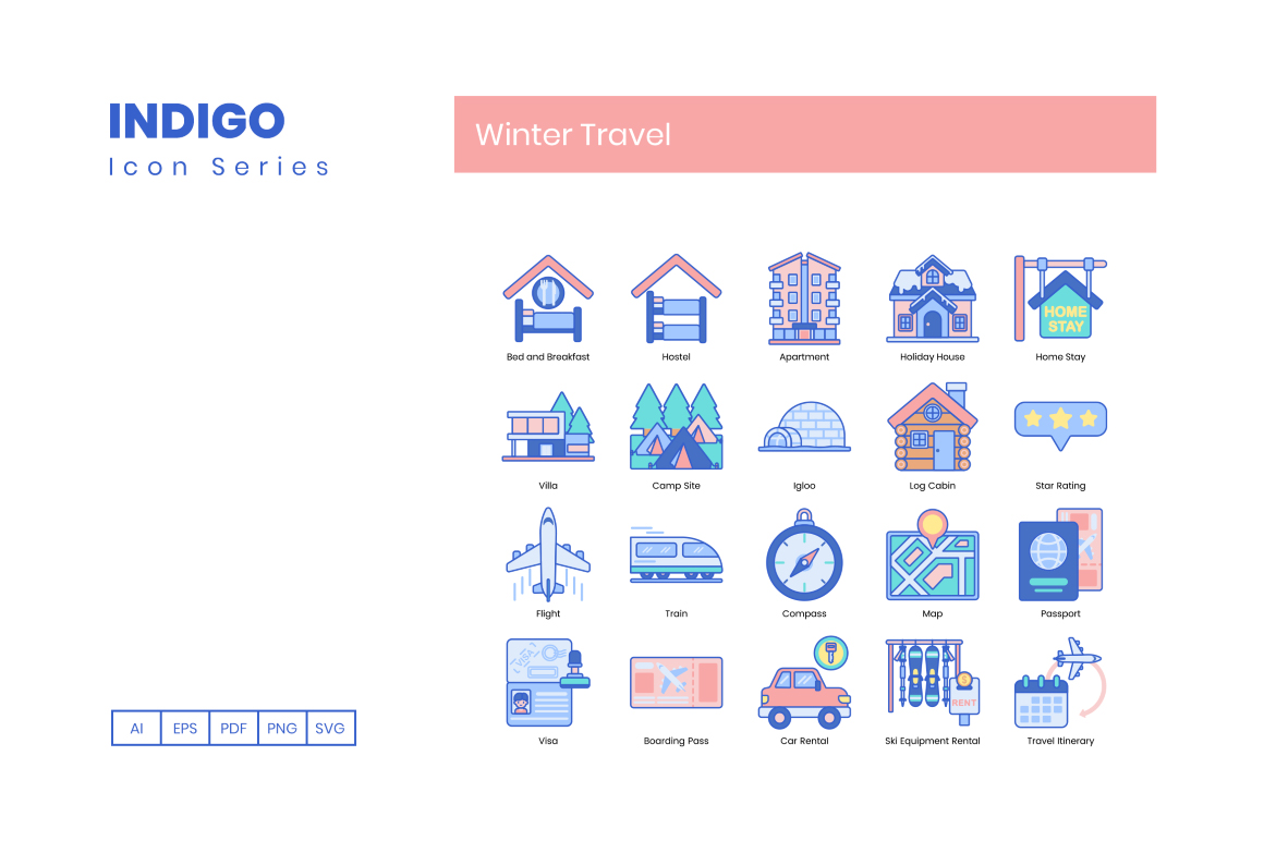 95 Winter Travel Icons