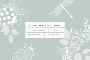 Beetles, Bugs & Butterflies Vector Illustrations