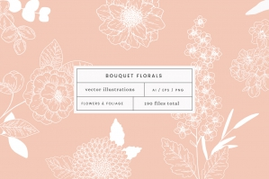 Bouquets Florals Vector Illustrations
