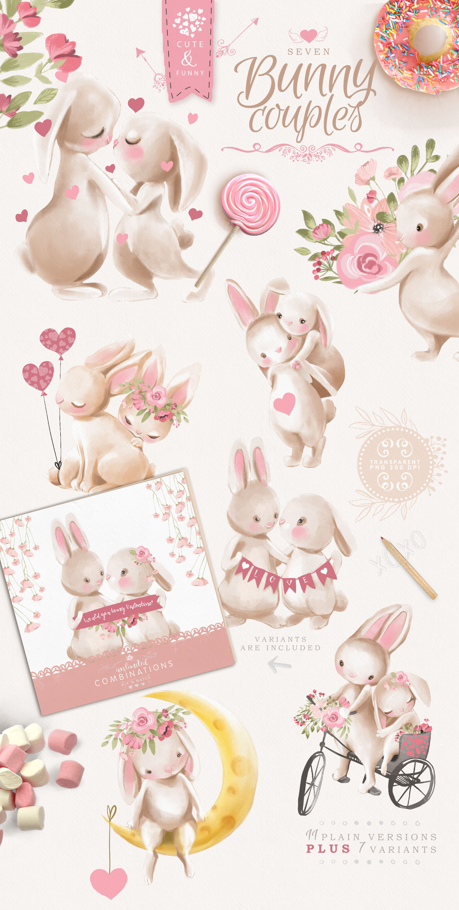 Bunnies in Love Clipart Set