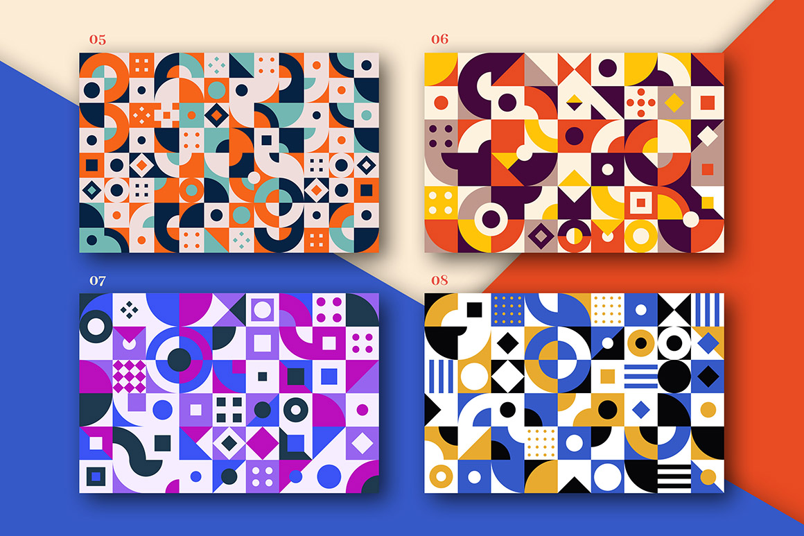 Colorful Geometric Seamless Patterns