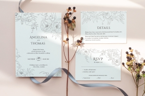 Floral Line Art Wedding Invitation