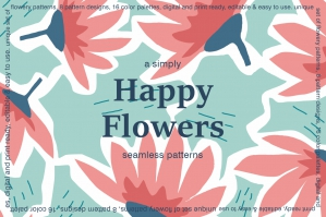 Happy Flowers Seamless Patterns