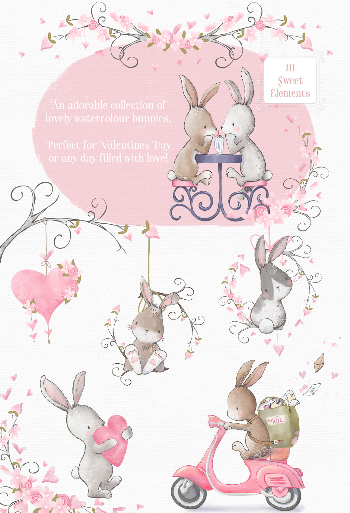 Love Somebunny Illustration Clipart Kit