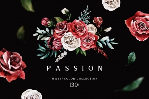 Passion Watercolor Floral Set