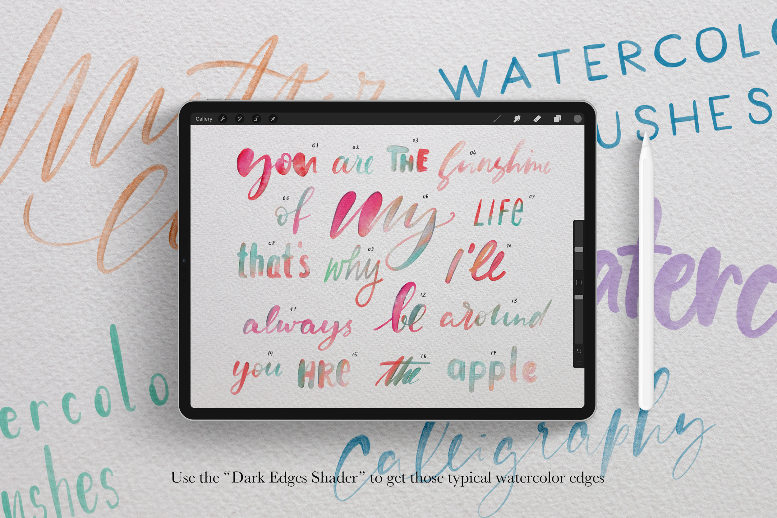 Procreate Watercolor Calligraphy Brushes Vol. 2