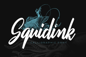 Squidink Script Font with Illustrations