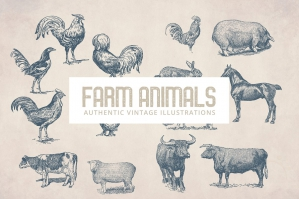 55 Vintage Farm Animals