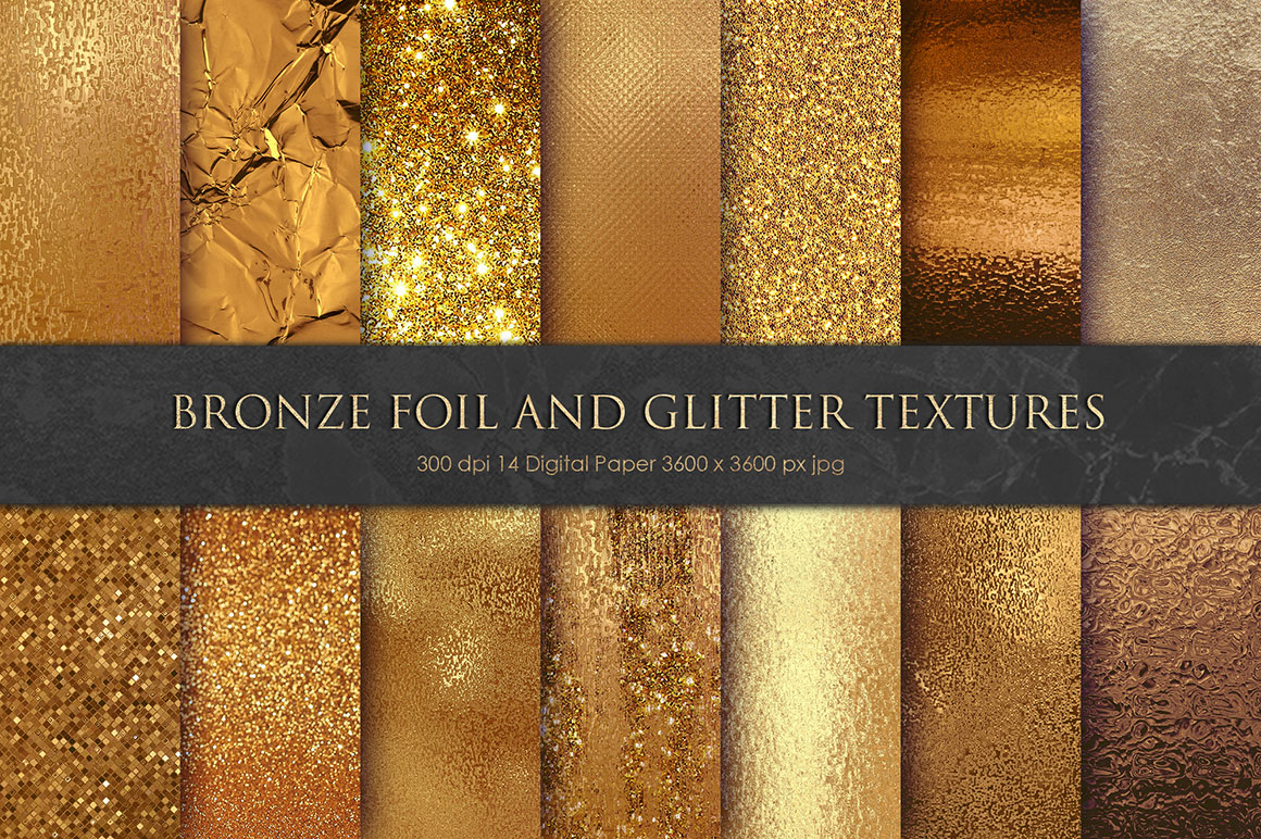 Bronze Gold Foil and Glitter Texture