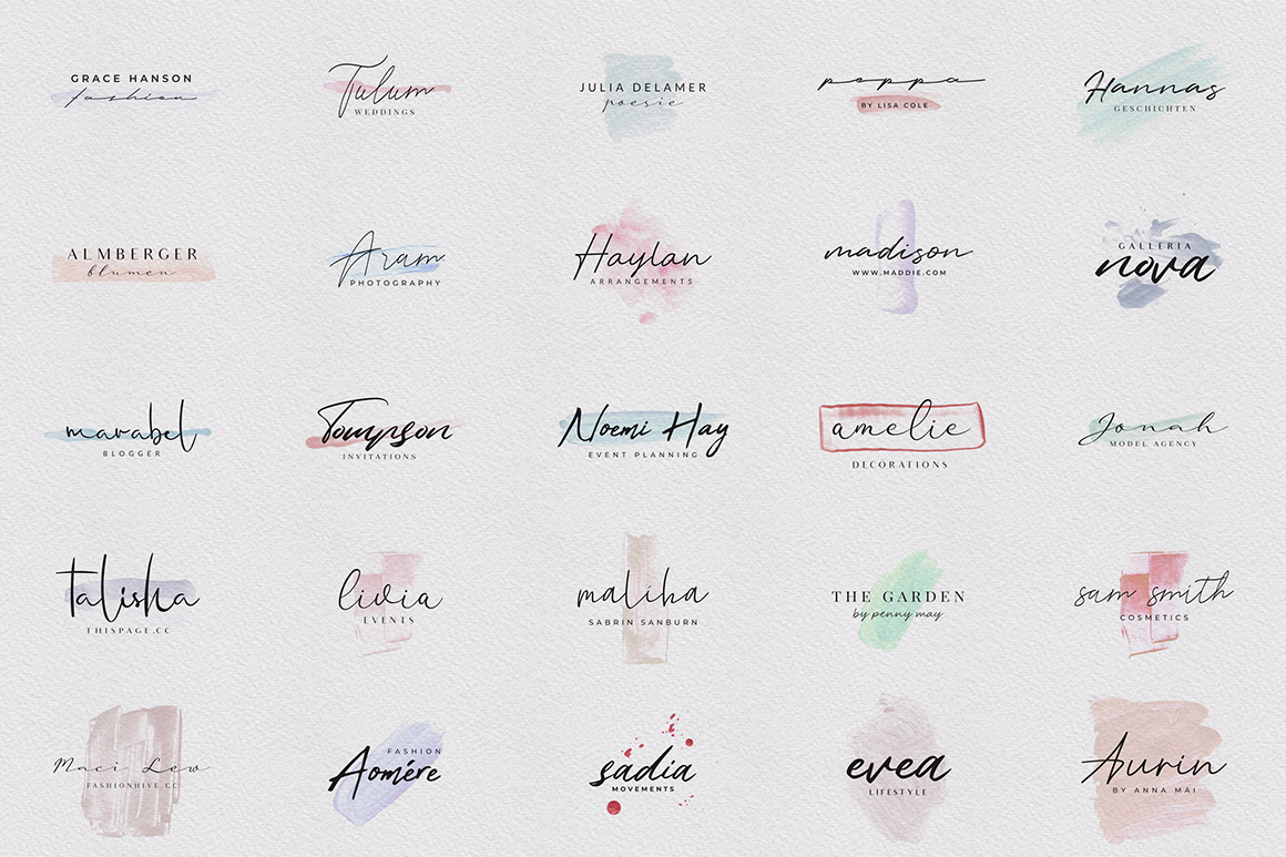 Feminine Script Logos with Watercolor Shapes