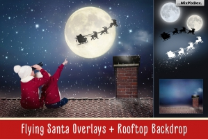 Flying Santa Photo Overlays