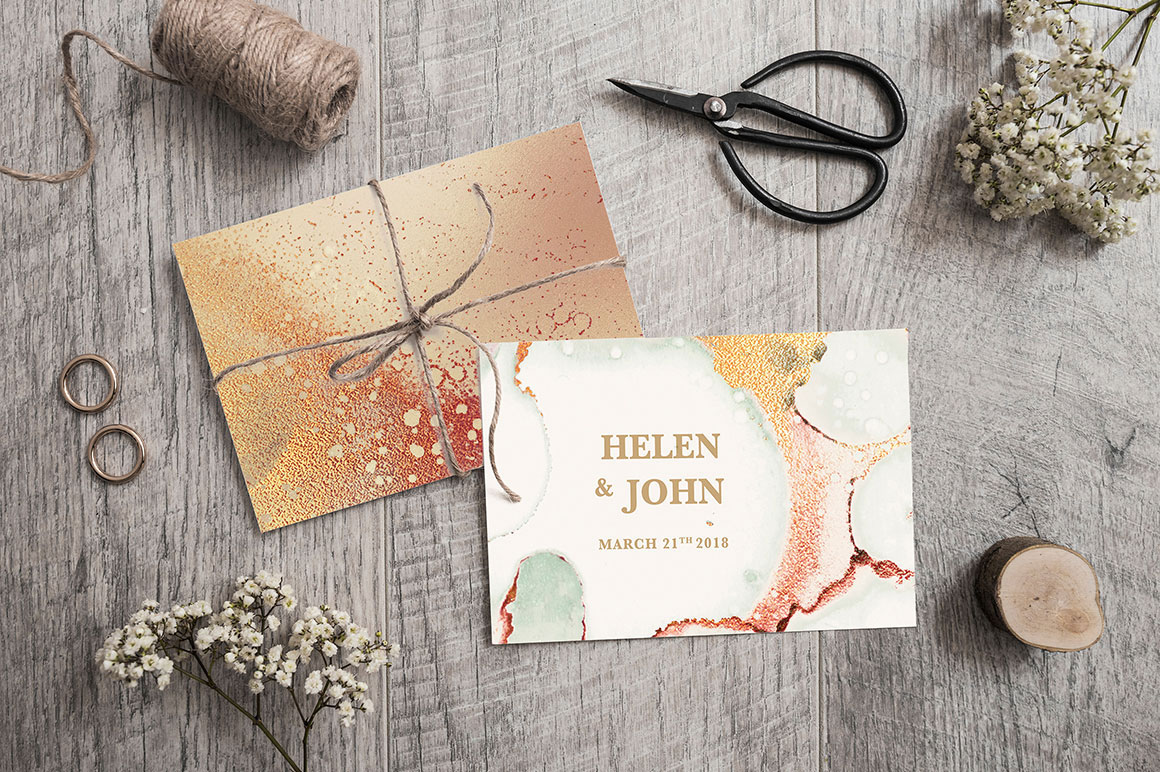 Gold Ink and Watercolor Foil Textures