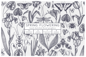Hand Drawn Spring Flowers Set