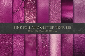 Pink Foil and Glitter Textures