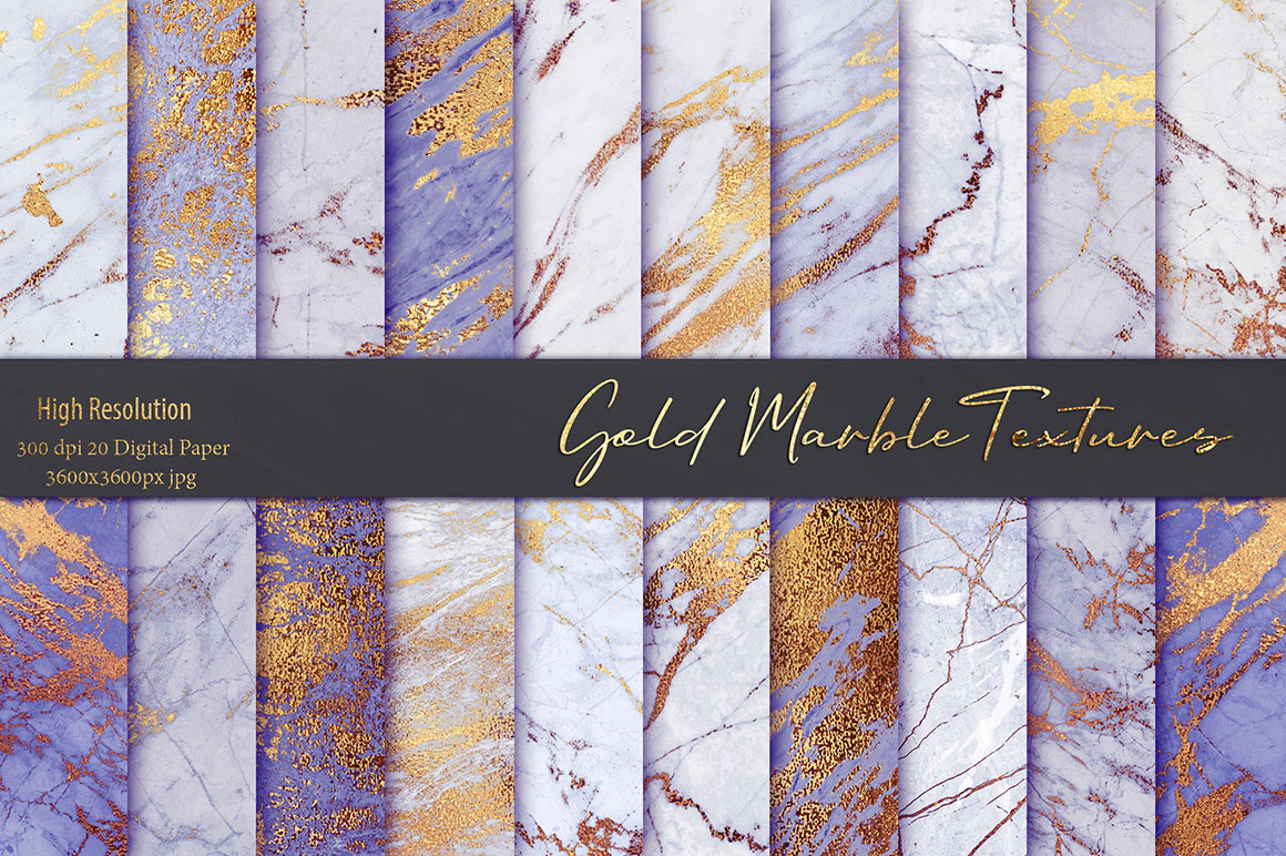 Purple Gold Marble Textures Pack